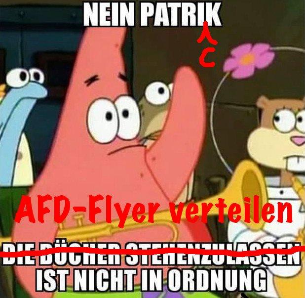 Nein Patrick, AfD-Flyer verteilen ist nicht in Ordnung!